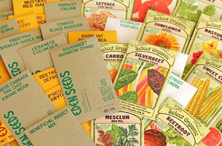 Packets of Eden Seeds and Select Organic Seeds.