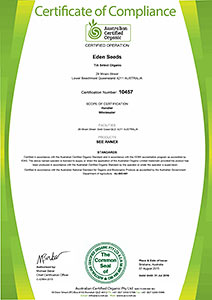 Select Organic - ACO Certificate of Compliance