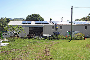 The large shed with new solar panels